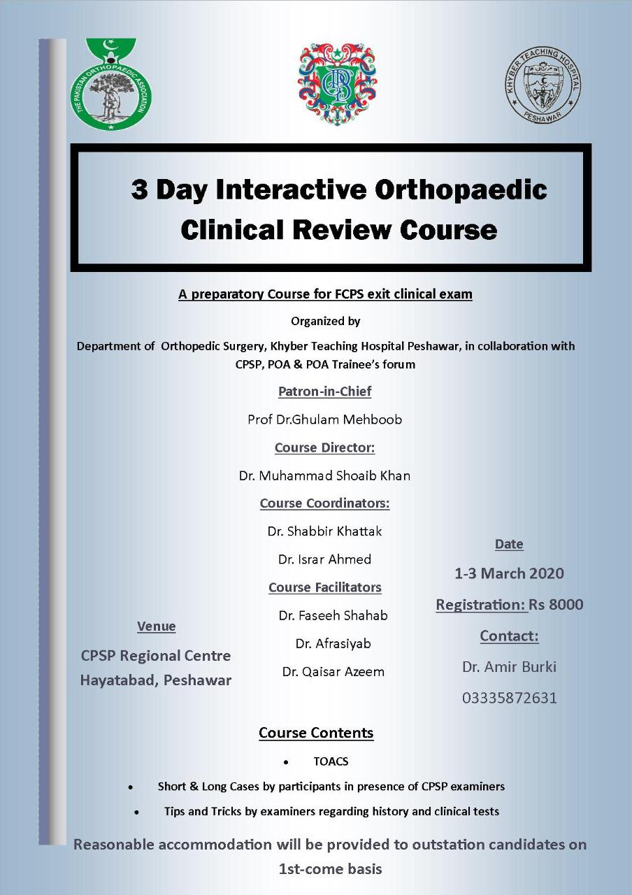 Three day Interactive Orthopaedic Clinical Review Course