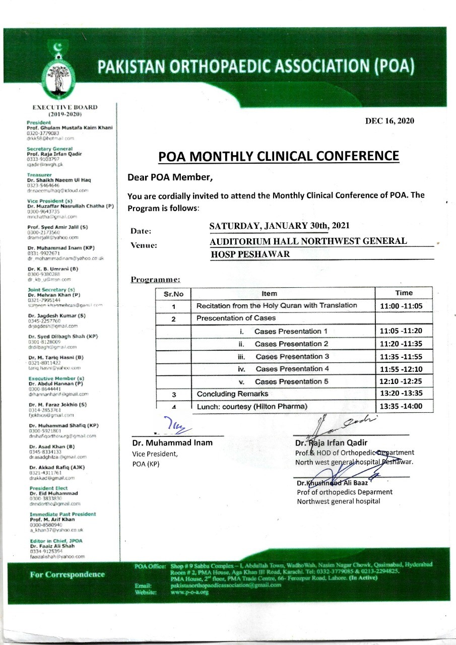 POA MONTHLY CLINICAL CONFERENCE